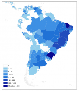 Map of concentrations of GOOD2 dams in South America by state
