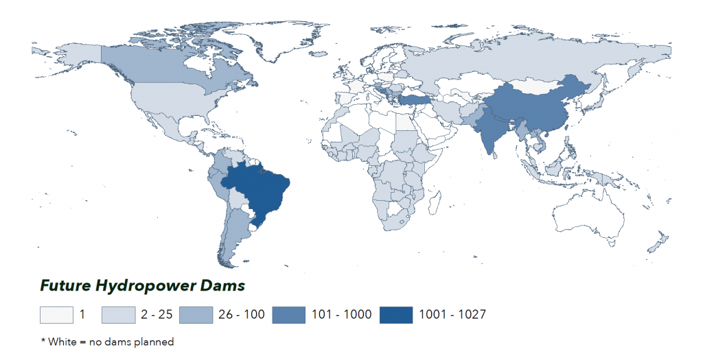 Map of Future Hydropower Reservoirs and Dams concentrated by country