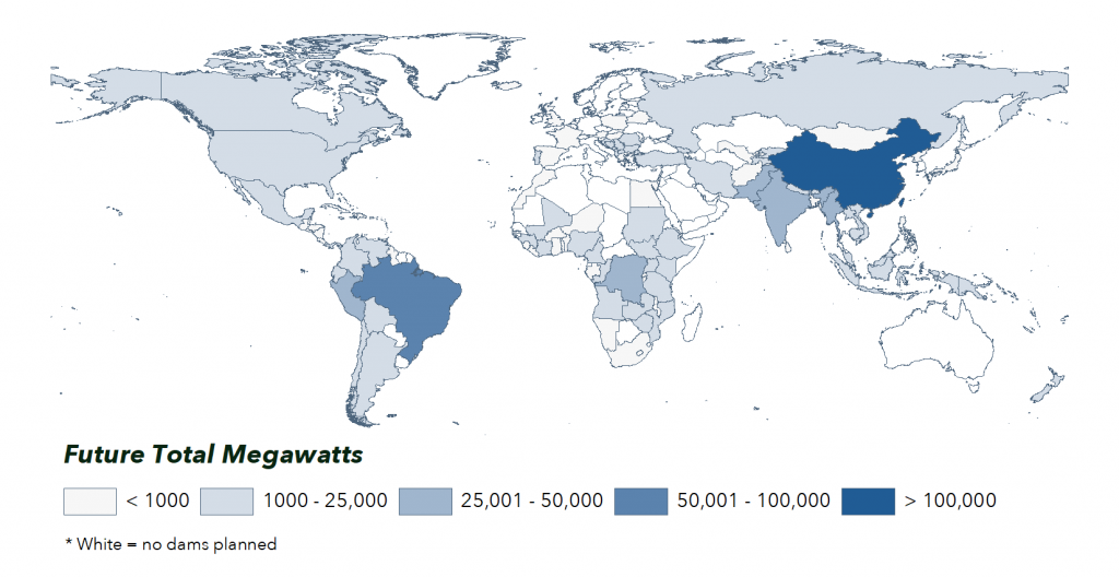Map of Future Hydropower Reservoirs and Dams concentrated in megawatts by country